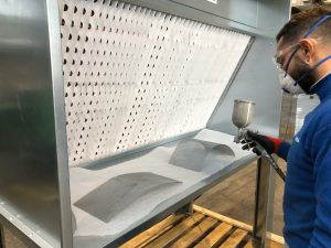 mini cabina di verniciatura con filtri e aspiratore
