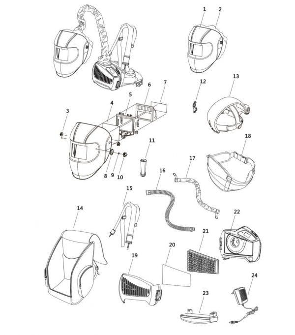 esploso-maschera-saldatura-respiratore