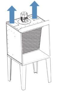 cabina aspirante flusso aria espulsione