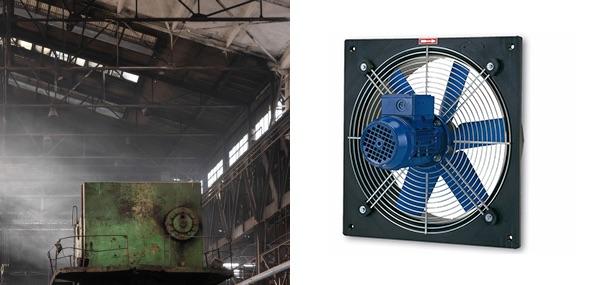Ricambio aria e smaltimento calore nei locali industriali, la scelta del ventilatore